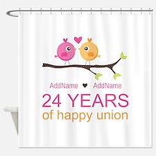 24th Wedding Anniversary Personaliz Shower Curtain