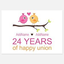 24th Wedding Anniversary Personaliz 5x7 Flat Cards
