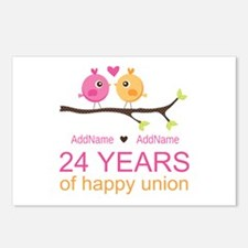 24th Wedding Anniversary Postcards (Package of 8)