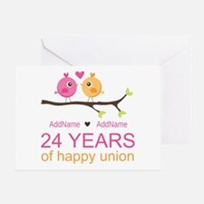 24th Wedding Anniversary Personalize Greeting Card