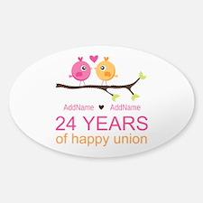 24th Wedding Anniversary Pers Sticker (Oval 10 pk)