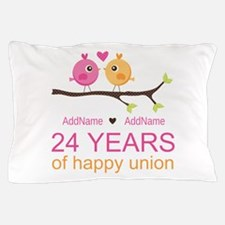 24th Wedding Anniversary Personalized Pillow Case