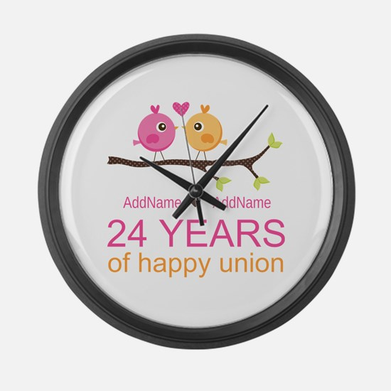 24th Wedding Anniversary Personal Large Wall Clock