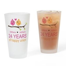 24th Wedding Anniversary Personaliz Drinking Glass