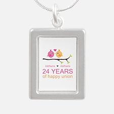 24th Wedding Anniversary Silver Portrait Necklace