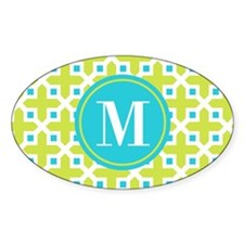 Monogram Cross Pattern Lime and Turquoise Decal