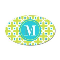 Monogram Cross Pattern Lime and Turquoise Wall Dec
