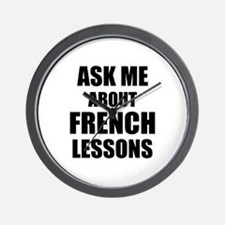 Ask me about French lessons Wall Clock