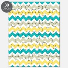 Teal Yellow Beige Chevron Pattern Puzzle