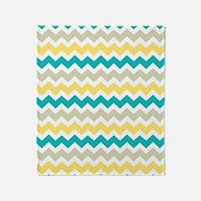 Teal Yellow Beige Chevron Pattern Throw Blanket
