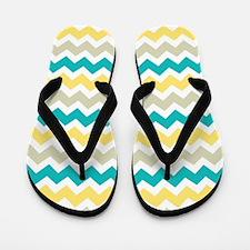 Teal Yellow Beige Chevron Pattern Flip Flops