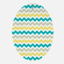 Teal Yellow Beige Chevron Pattern Oval Ornament