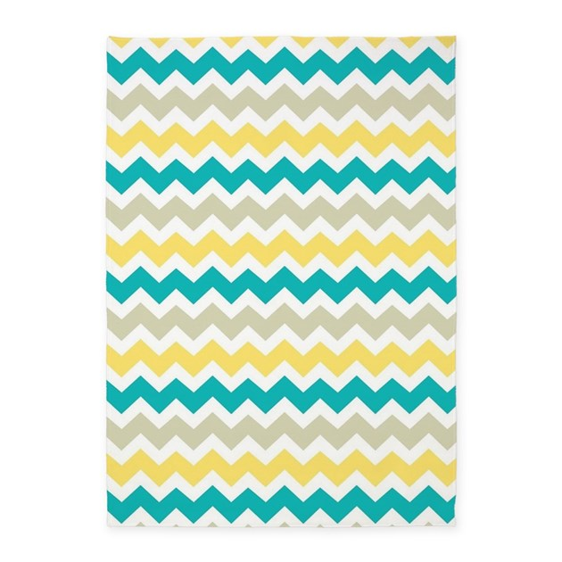 Teal Yellow Beige Chevron Pattern 5'x7'Area Rug By Listing