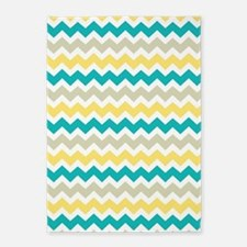 Teal Yellow Beige Chevron Pattern 5'x7'Area Rug