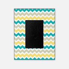 Teal Yellow Beige Chevron Pattern Picture Frame