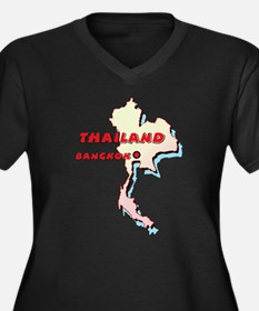 Thailand Map Women's Plus Size V-Neck Dark T-Shirt