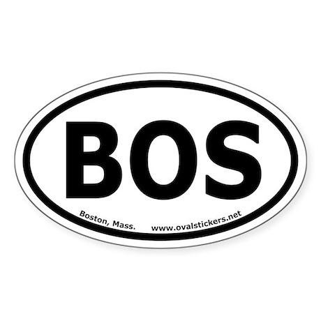 """Boston, Mass. Oval Sticker """"BOS"""""""