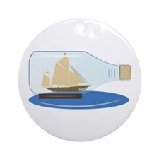 Ship in a Bottle Ornament (Round)