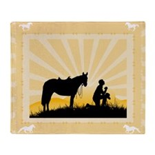 Praying Cowboy Throw Blanket