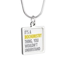 Its A Biochemistry Thing Silver Square Necklace