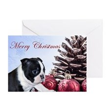 Merry Christmas Boston Terrier Greeting Cards