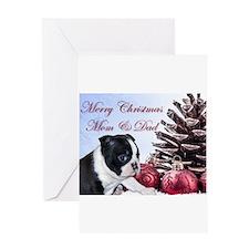 Merry Christmas Mom & Dad Boston Terrier Greeting