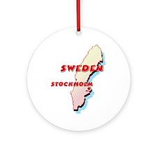 Sweden Map Ornament (Round)