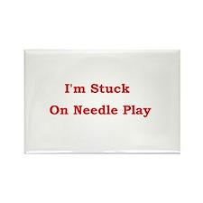 Stuck on Needle Play Rectangle Magnet