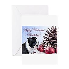 Happy Christmas Birthday Boston Greeting Cards