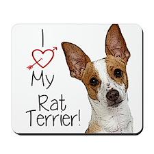 I Love My Rat Terrier (Large) Mousepad