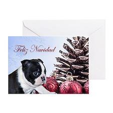 Feliz Navidad Boston Terrier Greeting Cards