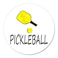 Pickleball slogan yellow ball paddle Round Car Mag