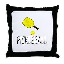 Pickleball slogan yellow ball paddle Throw Pillow