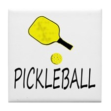 Pickleball slogan yellow ball paddle Tile Coaster