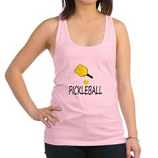 Pickleball slogan yellow ball paddle Racerback Tan