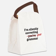 Silently correcting grammar Canvas Lunch Bag