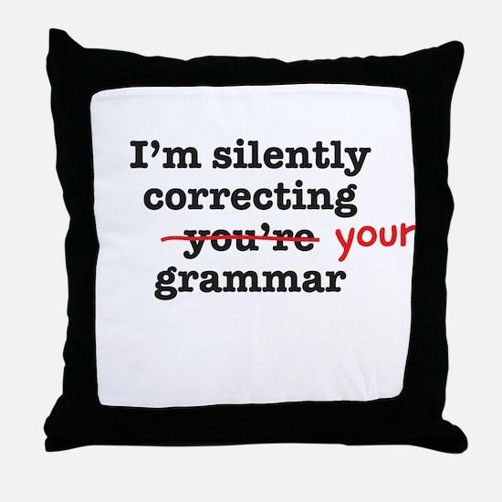 Silently correcting grammar Throw Pillow
