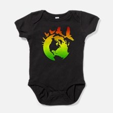 Mother Earth with Birds (rasta colors) Baby Bodysu