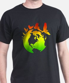 Mother Earth with Birds (rasta colors) T-Shirt