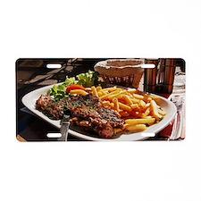 Steak Aluminum License Plate