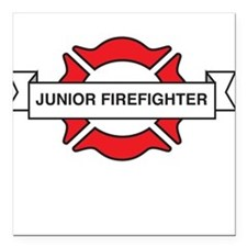 "Junior firefighter Square Car Magnet 3"" x 3"""