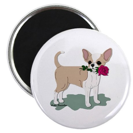 Chihuahua Red Rose Magnet