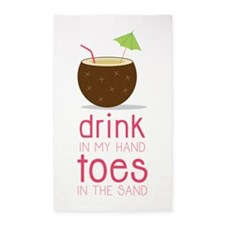 Drink in my Hand Toes 3'x5' Area Rug