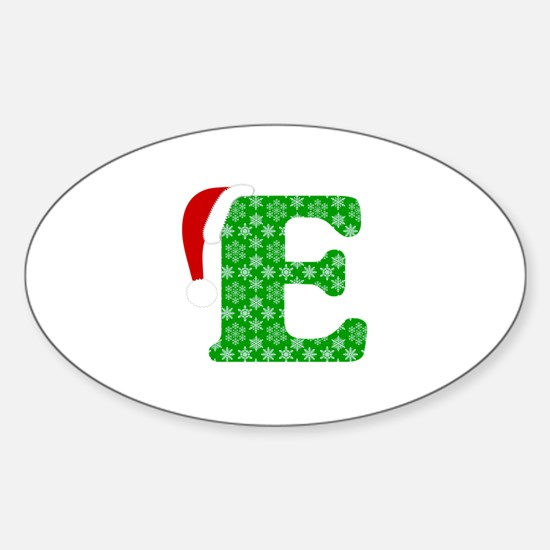 Christmas Monogram Letter E Sticker (Oval)