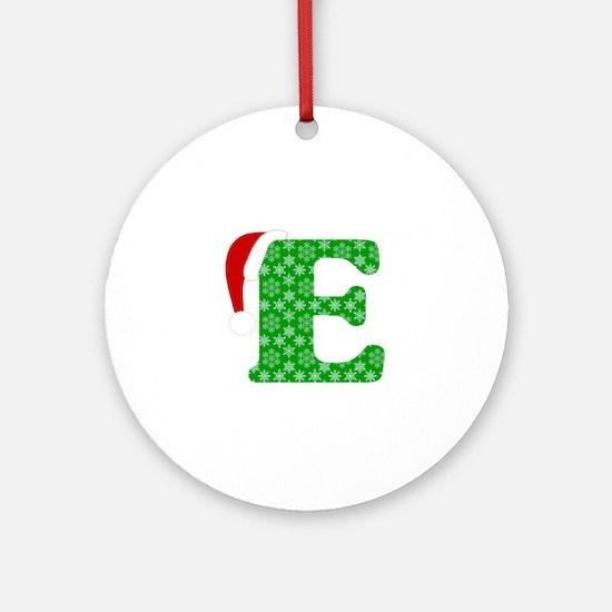 Christmas Monogram Letter E Round Ornament