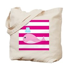 Pink Whale on Hot Pink Stripes Tote Bag