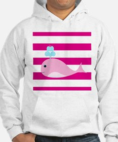 Pink Whale on Hot Pink Stripes Hoodie