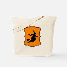 Halloween Witch Orange Black Tote Bag