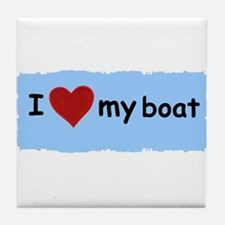 I LOVE MY BOAT Tile Coaster