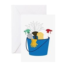 Cleaning Bucket Greeting Cards